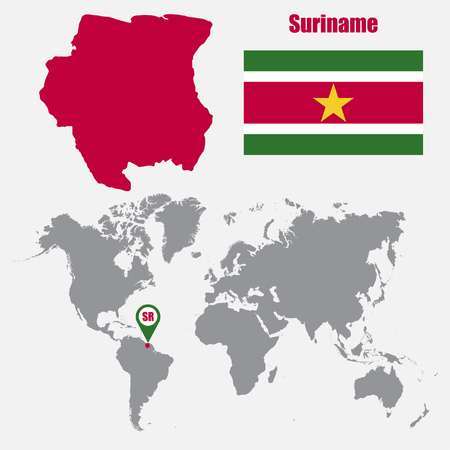 dutch landmark: Suriname map on a world map with flag and map pointer. Vector illustration