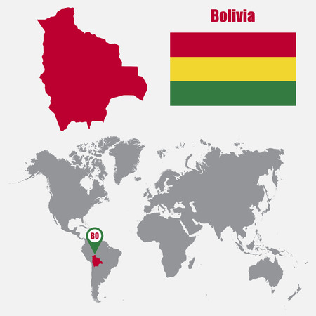 landlocked country: Bolivia map on a world map with flag and map pointer. Vector illustration