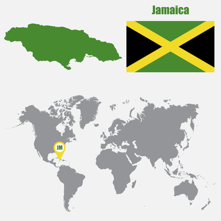 Jamaica Map On A World Map With Flag And Map Pointer. Vector Illustration  Stock Vector
