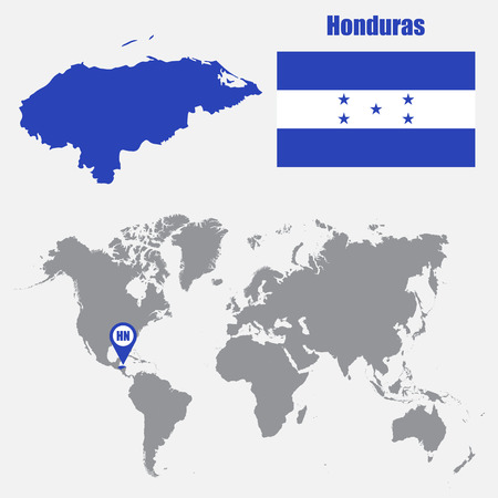 Honduras Map On A World Map With Flag And Map Pointer. Vector ...