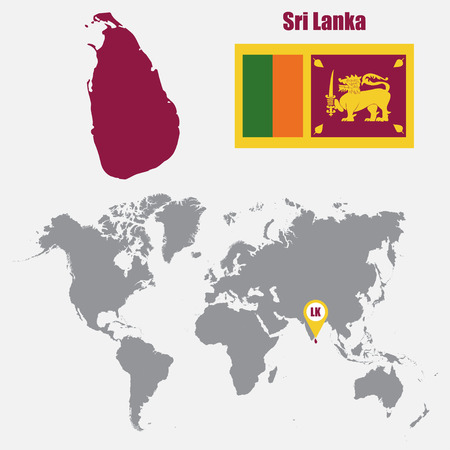 colombo: Sri Lanka map on a world map with flag and map pointer. Vector illustration Illustration