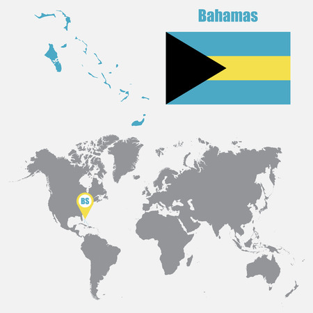 bahamas map: Bahamas map on a world map with flag and map pointer. Vector illustration
