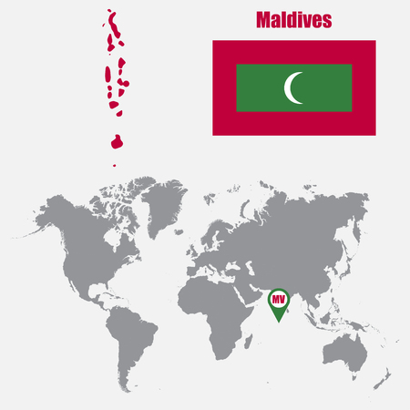 maldives island: Maldives map on a world map with flag and map pointer. Vector illustration