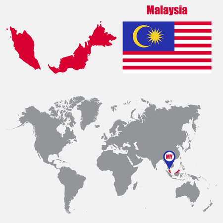 Malaysia map on a world map with flag and map pointer. Vector illustration