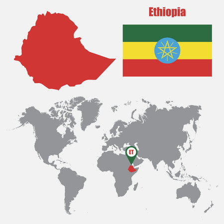 Ethiopia map on a world map with flag and map pointer. Vector illustration