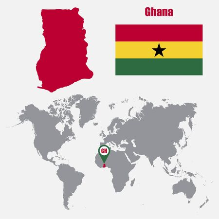 Ghana Map On A World Map With Flag And Map Pointer Vector - Ghana map vector
