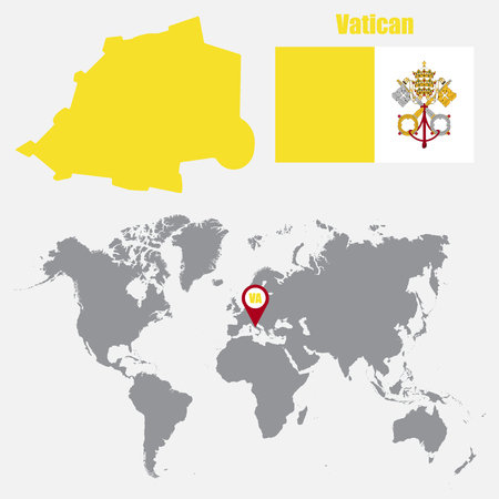 Vatican map on a world map with flag and map pointer. Vector illustration Illustration