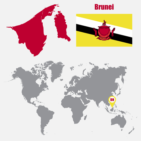 map of brunei: Brunei map on a world map with flag and map pointer. Vector illustration