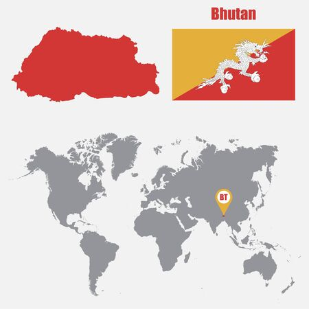 himalayas: Bhutan map on a world map with flag and map pointer. Vector illustration