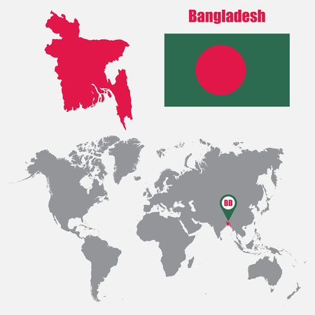 Bangladesh map on a world map with flag and map pointer vector bangladesh map on a world map with flag and map pointer vector illustration stock vector gumiabroncs Choice Image