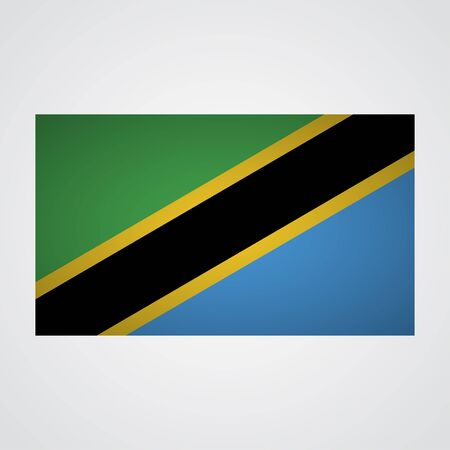 proportional: Tanzania flag on a gray background. Vector illustration