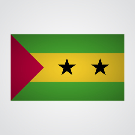 tome: Sao Tome and Principe flag on a gray background. Vector illustration