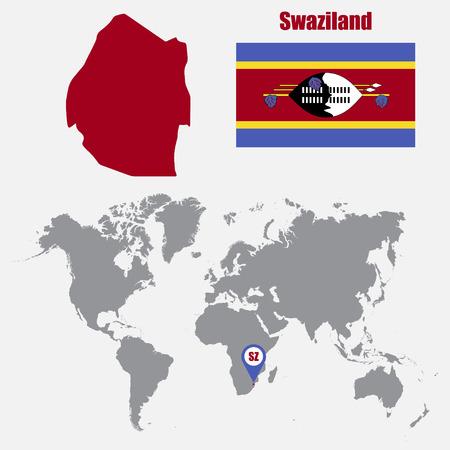 Mapa de nicaragua en un mapa del mundo con la bandera y el puntero swaziland map on a world map with flag and map pointer vector illustration gumiabroncs Image collections