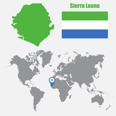 atlantic city: Sierra Leone map on a world map with flag and map pointer. Vector illustration