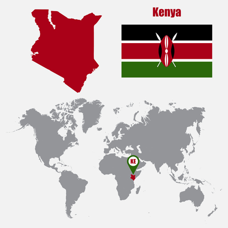 Kenya Map On A World Map With Flag And Map Pointer Vector - World map kenya
