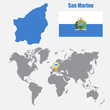 El salvador map on a world map with flag and map pointer vector san marino map on a world map with flag and map pointer vector illustration vector gumiabroncs Gallery