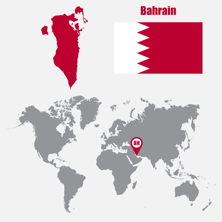 dinar: Bahrain map on a world map with flag and map pointer. Vector illustration