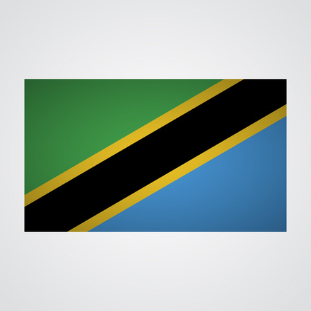 world war 2: Tanzania flag on a gray background. Vector illustration