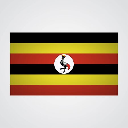 Uganda flag on a gray background. Vector illustration