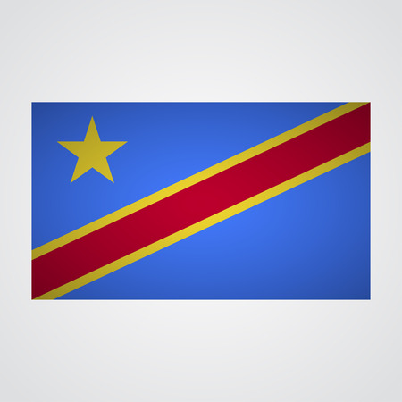 zaire: Democratic Republic of Congo flag on a gray background. Vector illustration