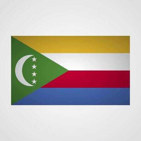 comores: Comoros flag on a gray background. Vector illustration Illustration