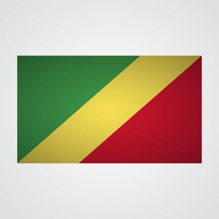 western wall: Republic of Congo flag on a gray background. Vector illustration