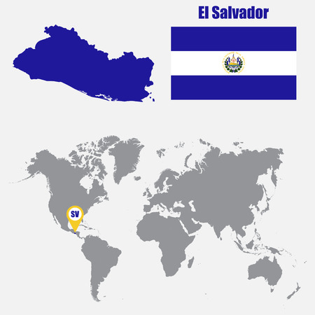 Costa rica map on a world map with flag and map pointer vector el salvador map on a world map with flag and map pointer vector illustration vector gumiabroncs Image collections