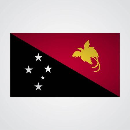 pupa: Papua New Guinea flag flag on a gray background. Vector illustration