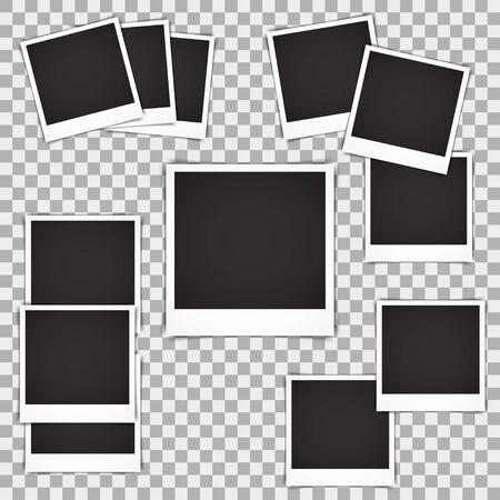 instant photo: Set of blank vintage photo frame mockup isolated on a transparent background. Photorealistic vector retro instant photo Frame Mockup Illustration