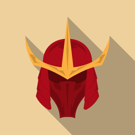 Samurai armor helmet with long shadow in a flat design. Vector illustration