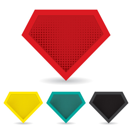 embossed: Set of superhero template. Illustration