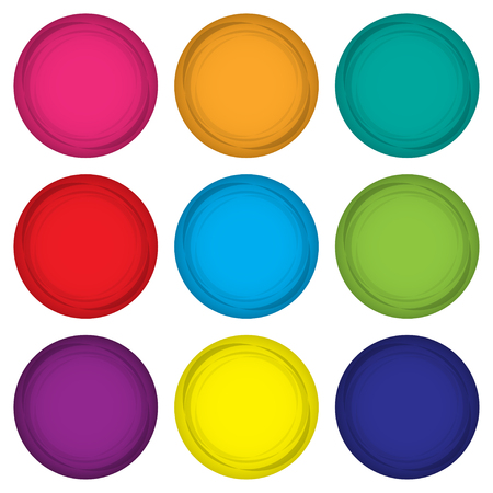 coordinacion: Conjunto de imanes de colores en un diseño plano sobre un fondo blanco. ilustración vectorial