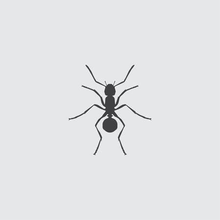 Icona della formica in un design piatto di colore nero. illustrazione di vettore