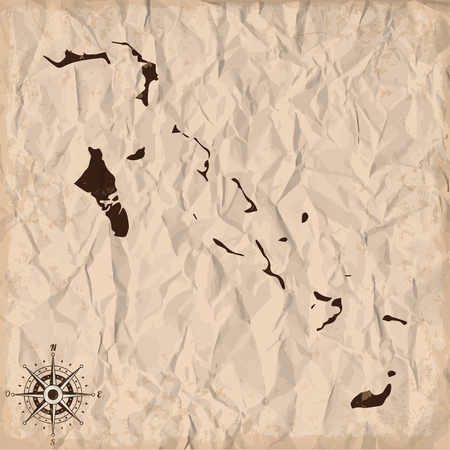 bahamian: Bahamas old map with grunge and crumpled paper. Vector illustration