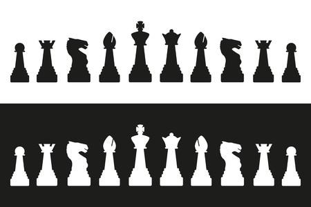 Bewerkbare vector silhouetten van een set van standaard schaakstukken