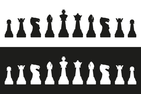 Editable vector silhouettes of a set of standard chess pieces Иллюстрация