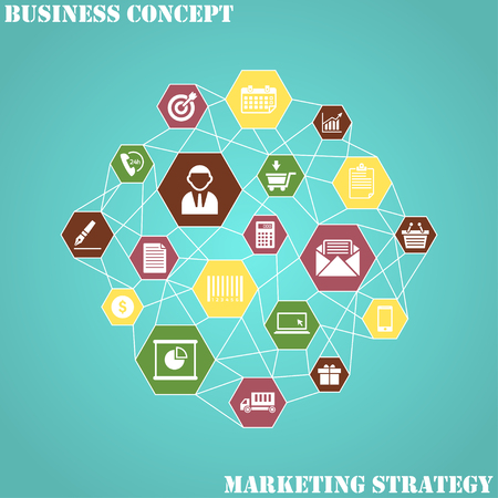 Marketing Strategy. Chart with keywords and icons. Flat Design