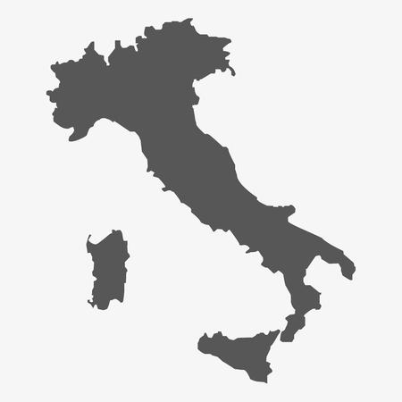 白地にグレーでイタリア マップ