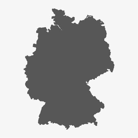 Deutschland-Karte in grau auf weißem Hintergrund Vektorgrafik