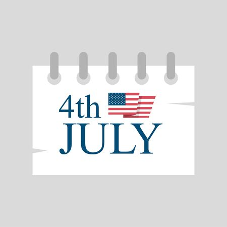 july 4: july 4 calendar, independence day american paper design. vector illustration