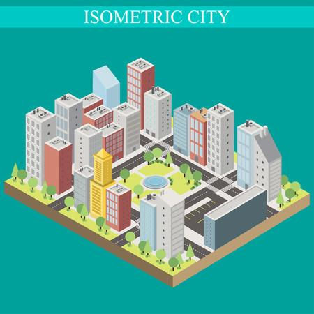 megapolis: Isometric city, megapolis concept with 3d office buildings, cafes, store, skyscraper