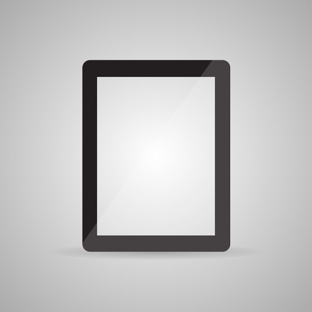 modern palmtop: Realistic tablet pc computer with blank screen isolated on a gray background