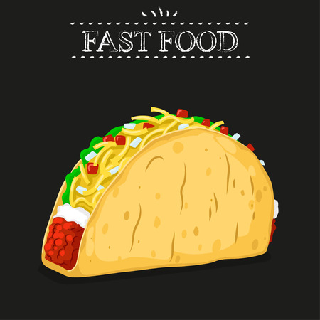 ground beef: Fast food. Mexican taco on a black background Illustration