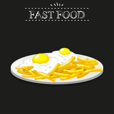 fried eggs: Fast food. Fried eggs and fries on a black background