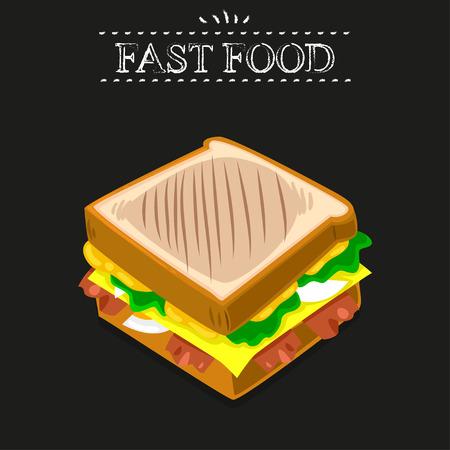 peppar: Fast food. Ham and vegetable sandwich on a black background