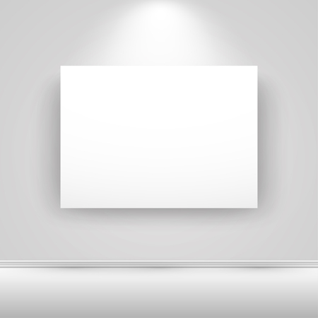 canvas on wall: Blank horizontal white canvas on the wall with light