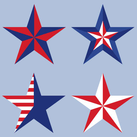 flagged: Set of USA stars on a blue background. Vector illustration