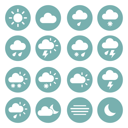 windy day: Weather icons ona blue circles. Vector illustration