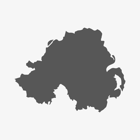 ireland cities: Northern Ireland map in gray on a white background Illustration