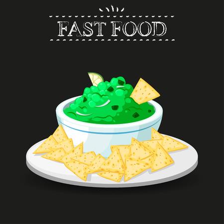 chips and salsa: Fast food. Nachos on a black background Illustration